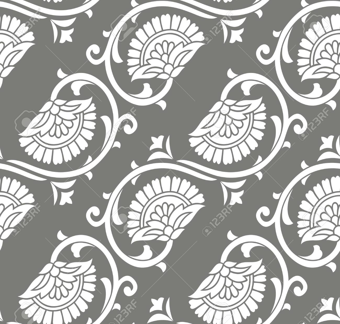 Seamless Silver Floral Wallpaper Design Royalty Free Cliparts