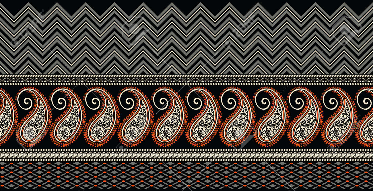Seamless Asian paisley border with geometrical shapes - 155571529