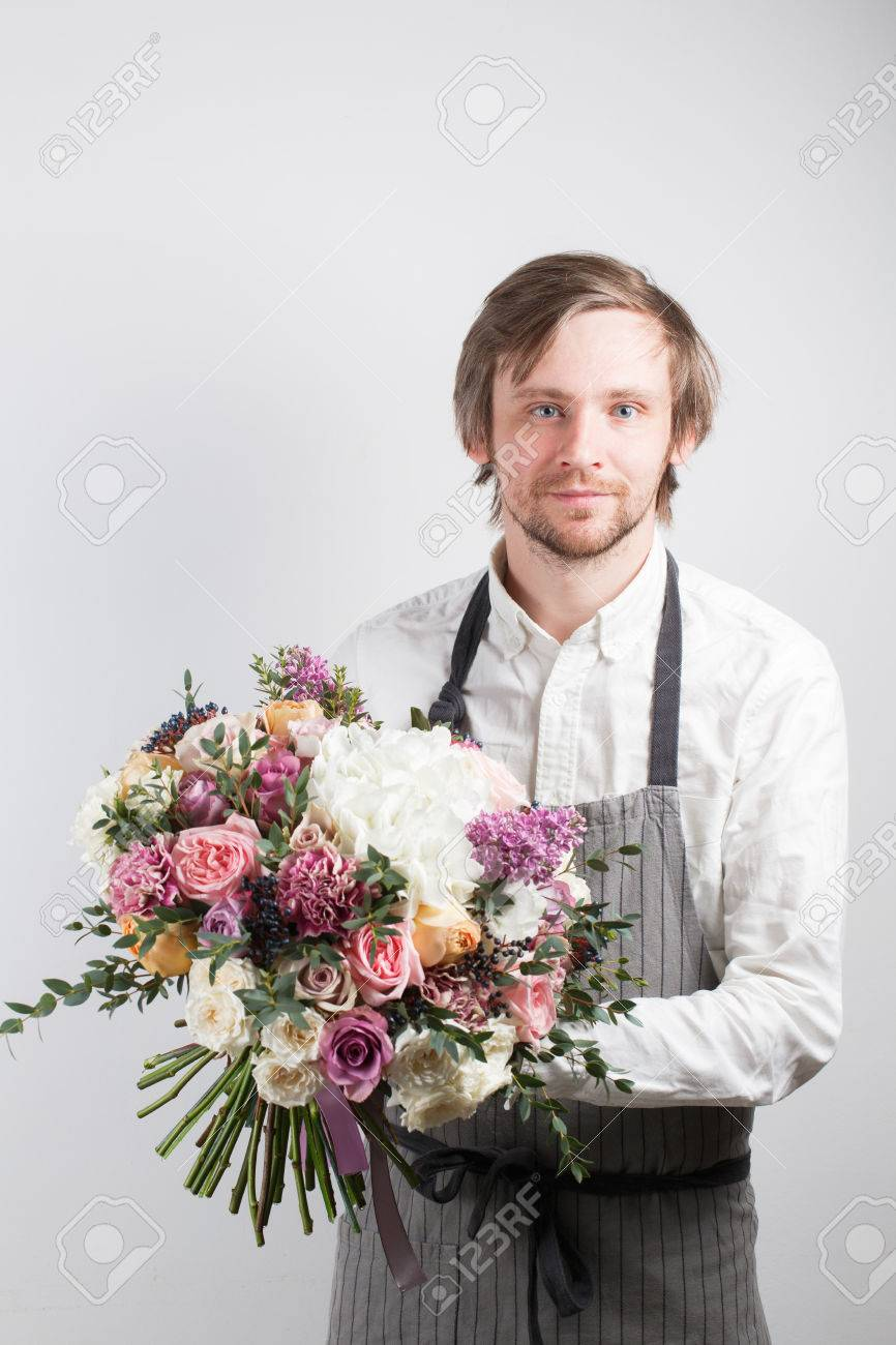 Beautiful Bouquet Made Of Different Flowers In Young Man Hand ...