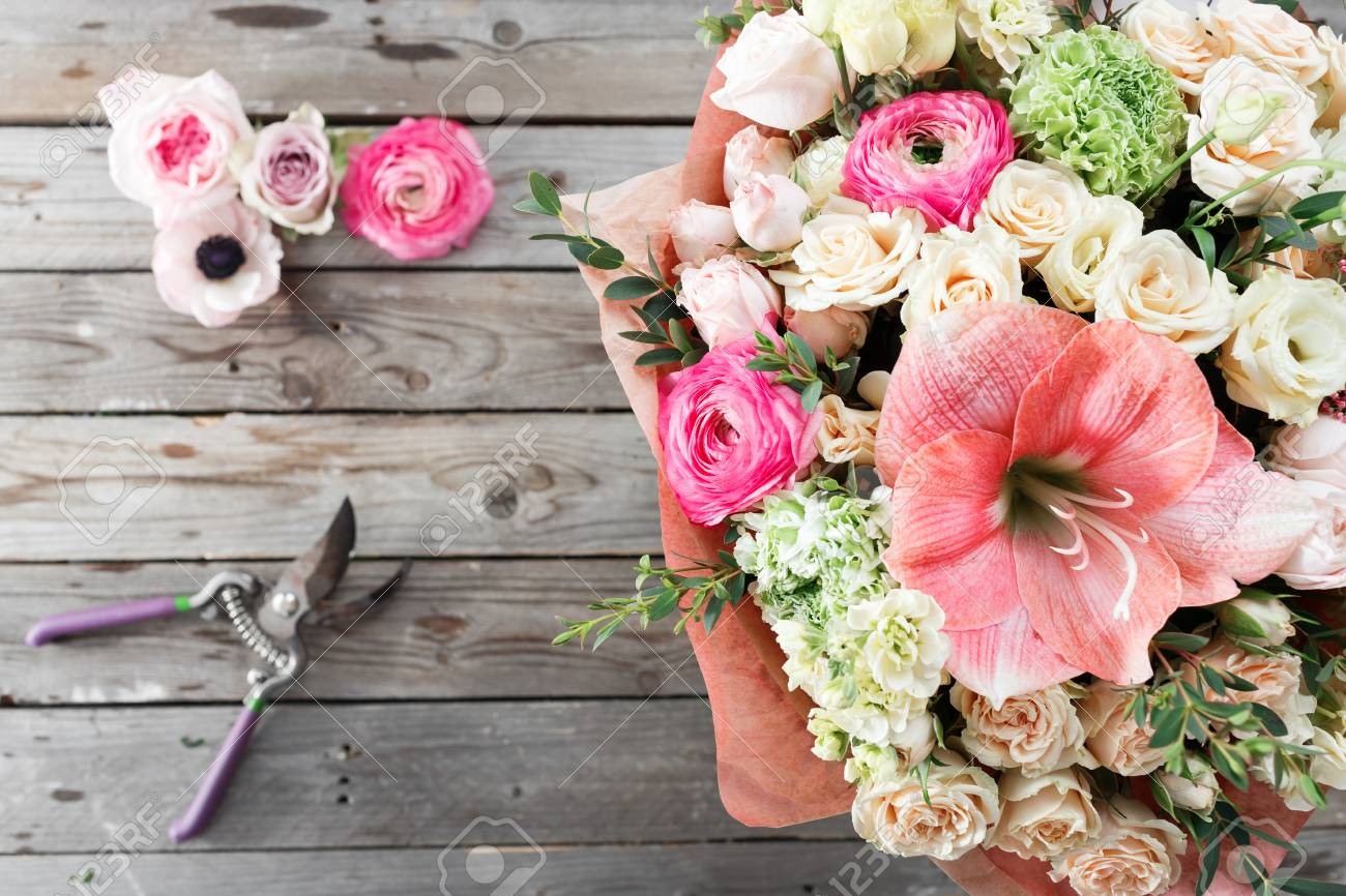 Mix Flowers Bouquet On Wooden Background. Old Rustic Table, And ...