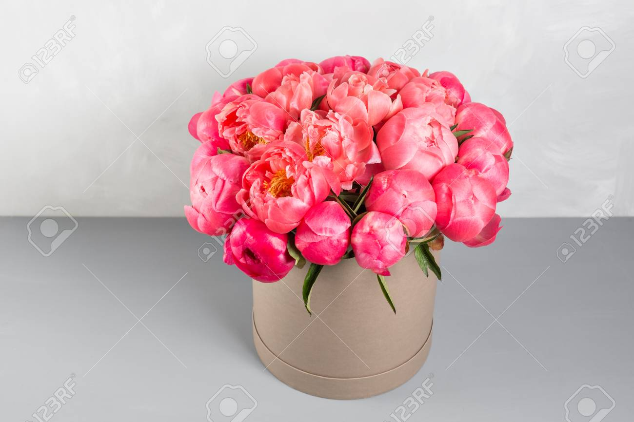 Peonies grade coral sharm beautiful mix coral and pink flower peonies grade coral sharm beautiful mix coral and pink flower bouquet in round box with mightylinksfo