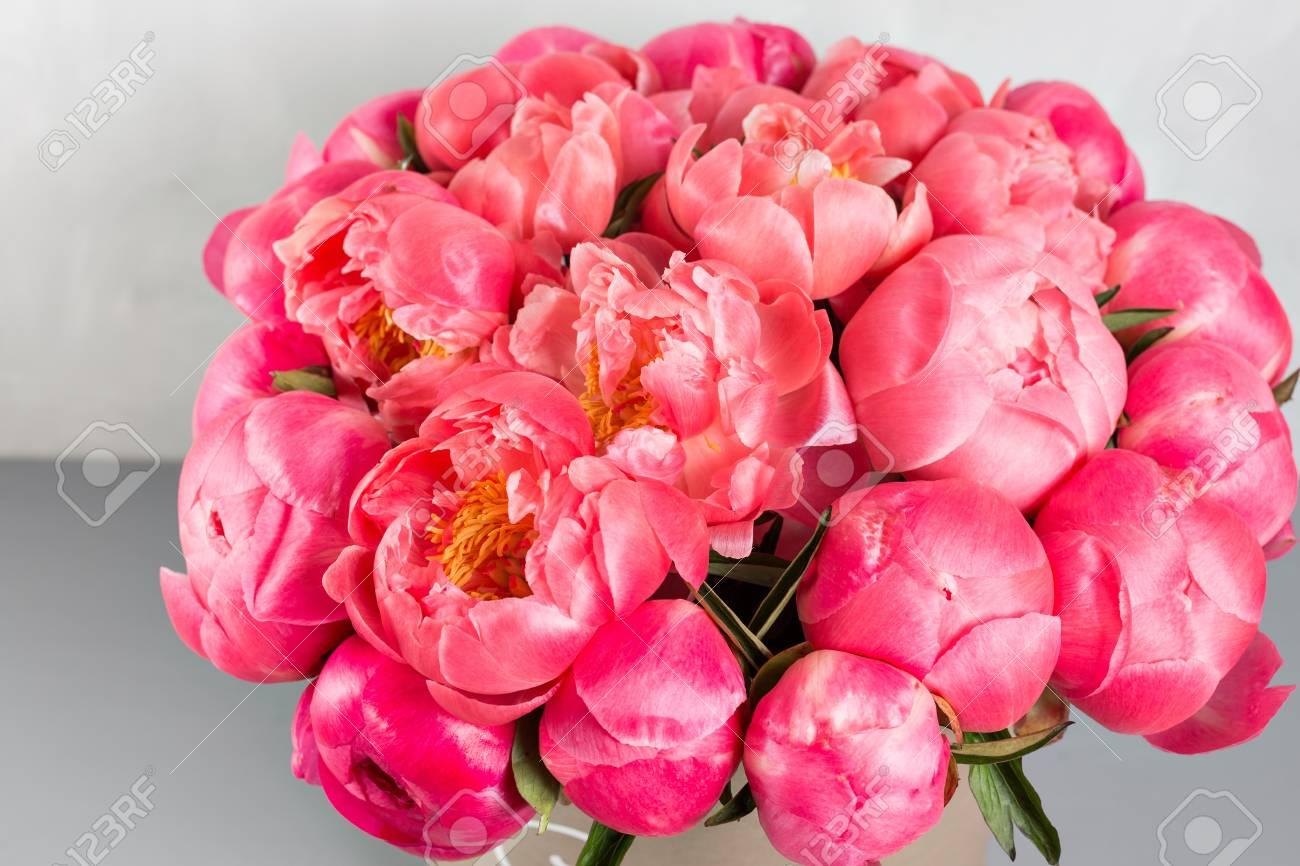Pivoines Grade Coral Sharm Beau Melange Corail Et Bouquet De Fleurs