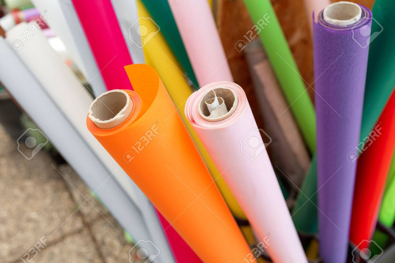 Many Rolls Of Wrapping Paper For Flowers Colorful Red Green