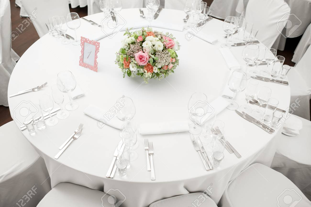 Stock Photo - table setting festive round tables ready for guests. & Table Setting Festive Round Tables Ready For Guests. Stock Photo ...