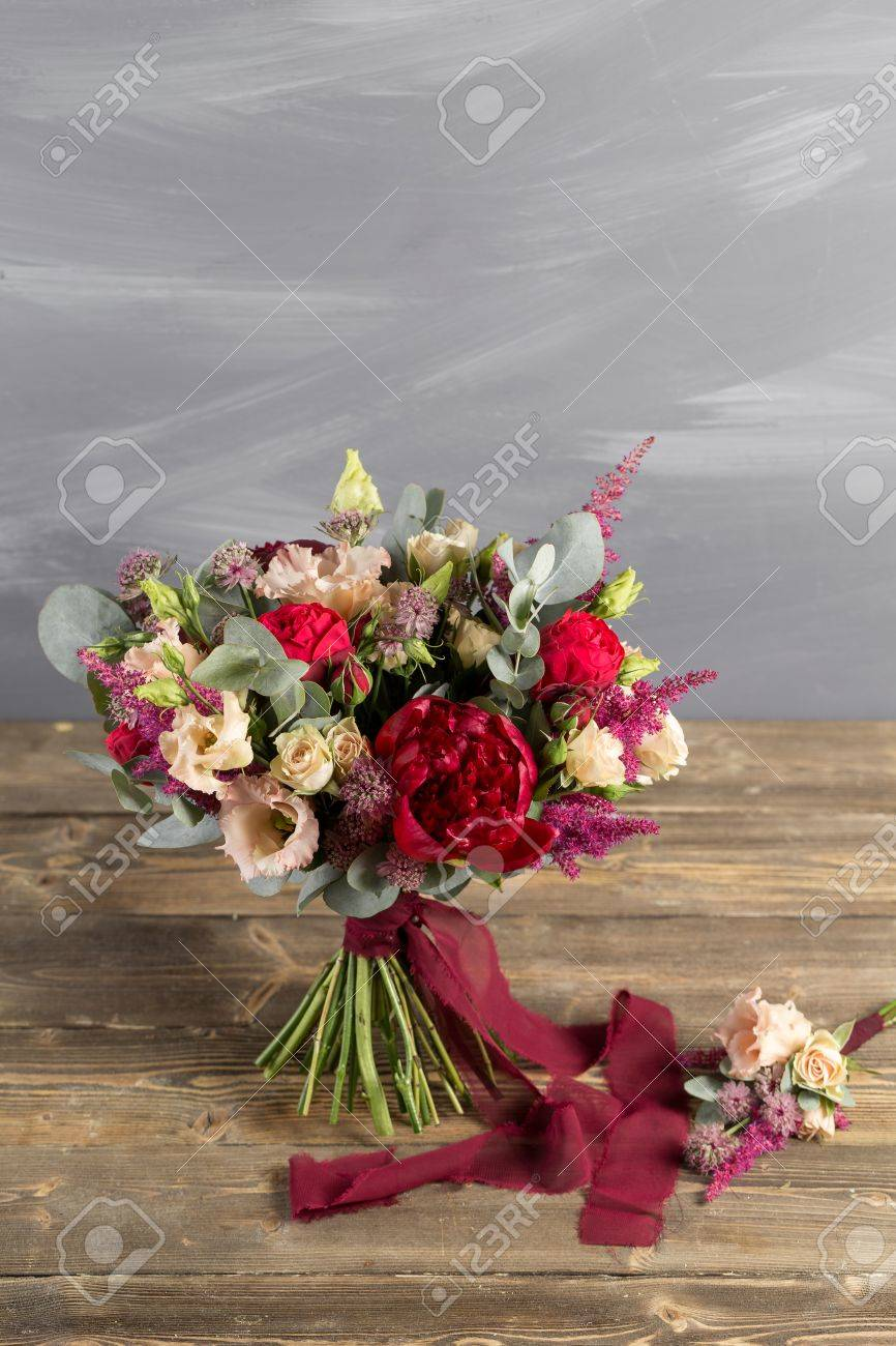 Bridal Bouquet And Boutonniere. Red And Peach Color Flowers Stock ...