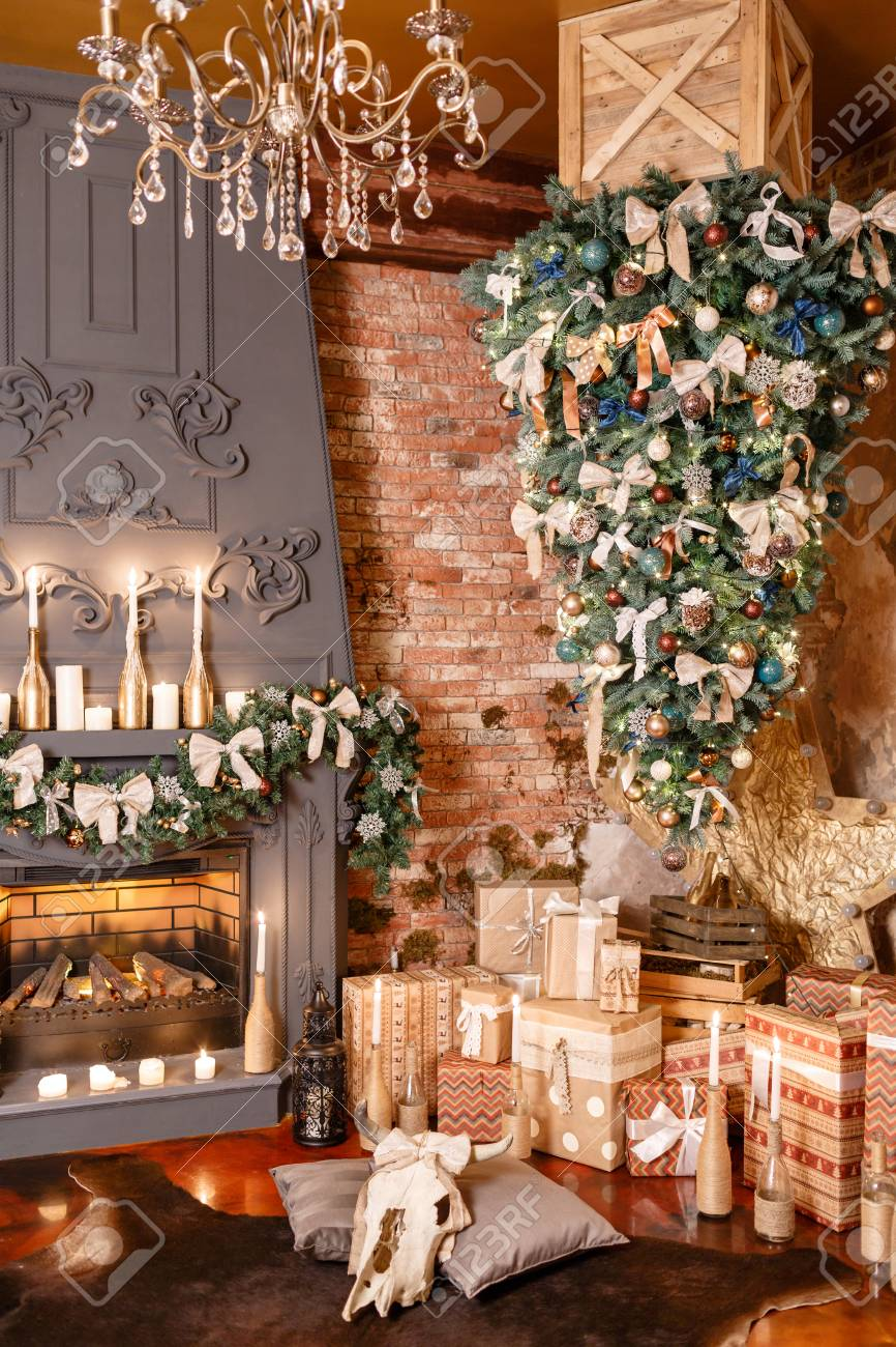 Many Christmas Gifts Winter Home Decor Christmas In Loft Interior