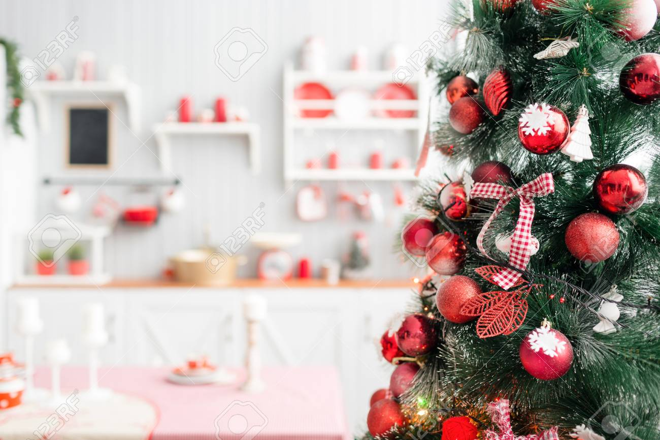 Interior Light Grey Kitchen And Red Christmas Decor. Preparing ...