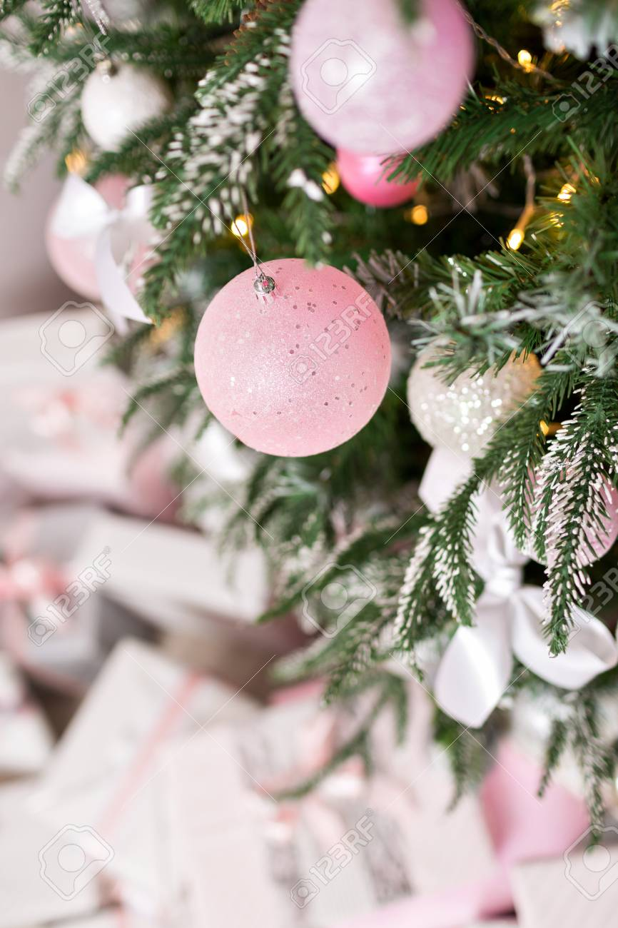Christmas Tree Decorated With Toys In Silver And Pink Color Stock Photo Picture And Royalty Free Image Image 89788569