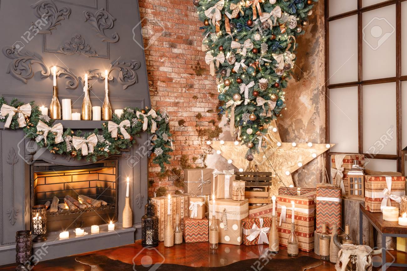 Winter Home Decor. Modern Loft Interior. Stock Photo   90302406