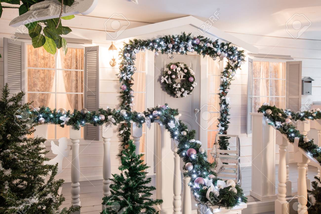 house entrance decorated for holidays christmas decoration stock