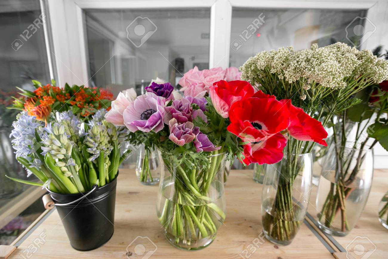 Different varieties fresh spring flowers in refrigerator for different varieties fresh spring flowers in refrigerator for flowers in flower shop bouquets on mightylinksfo