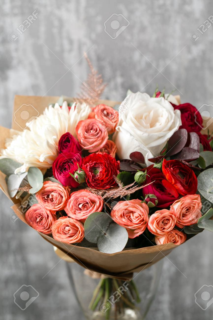 Beautiful Luxury Bouquet Of Mixed Flowers In Vase The Work Stock Photo Picture And Royalty Free Image Image 91184057