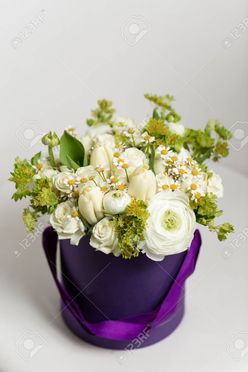 Mixed White Flowers Bouquet Of Spray Roses And Ranunculuses