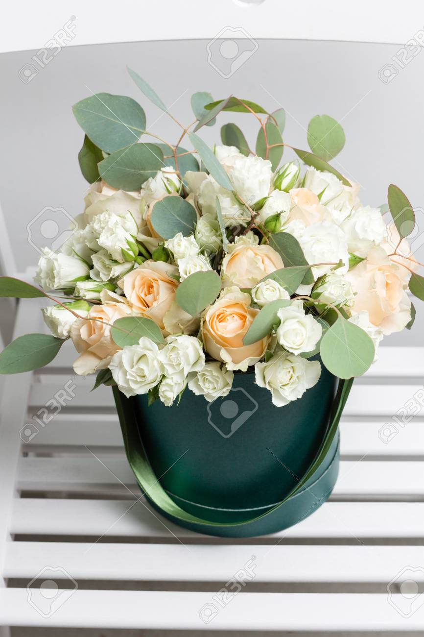 Mixed White Flowers Bouquet Of Spray Roses And Eucalyptus In A Box