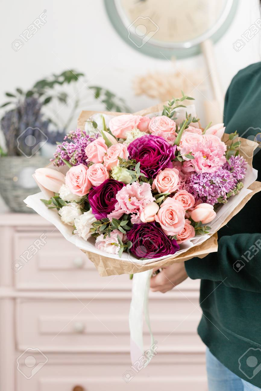Beautiful Luxury Bouquet Of Mixed Flowers In Woman Hand. The.. Stock ...