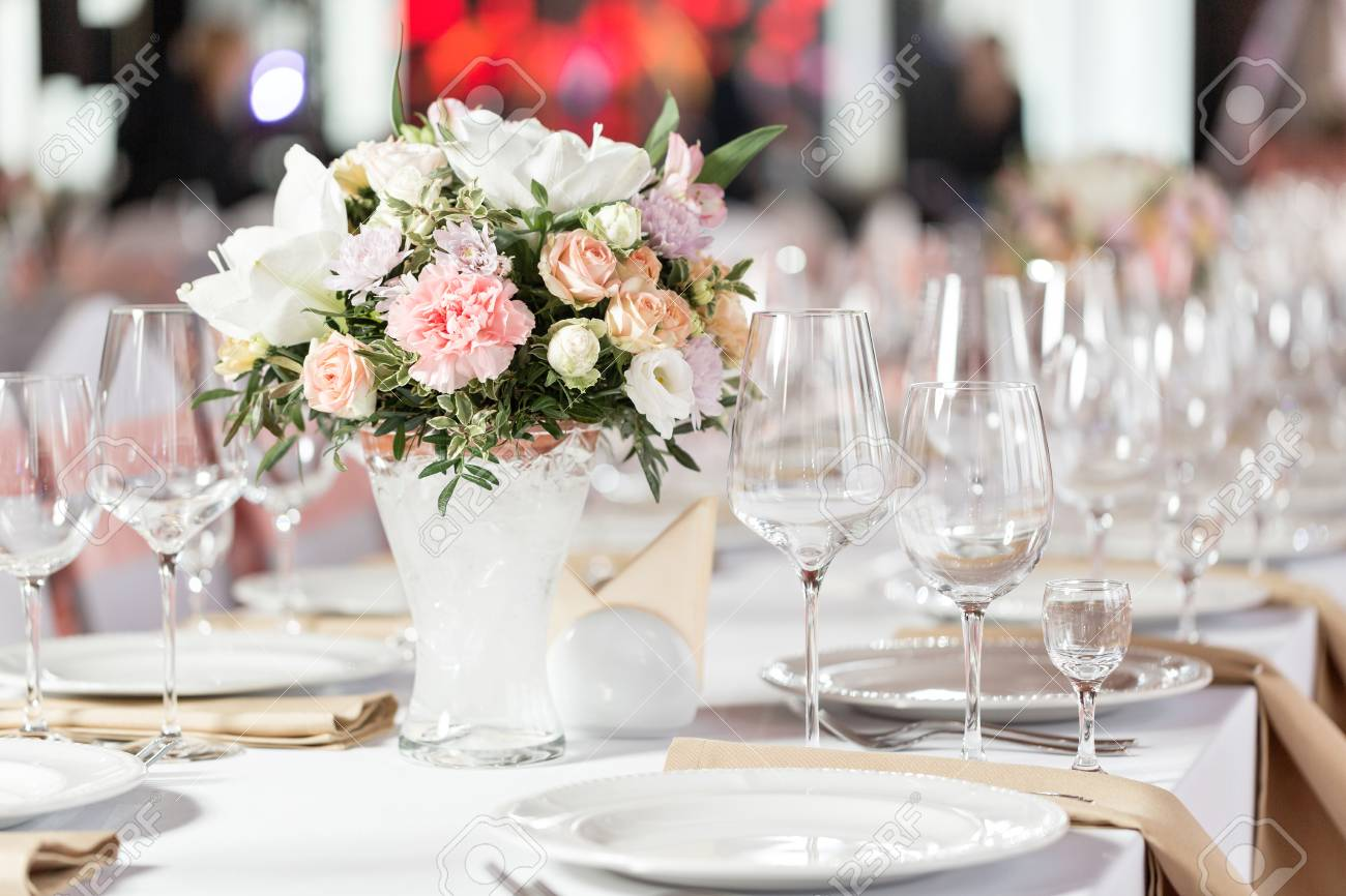 Tables Set For An Event Party Or Wedding Reception Luxury Elegant