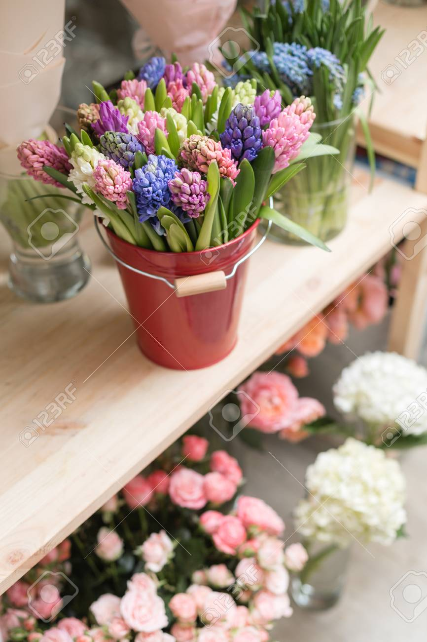 Flower Shop Concept Different Varieties Fresh Spring Flowers