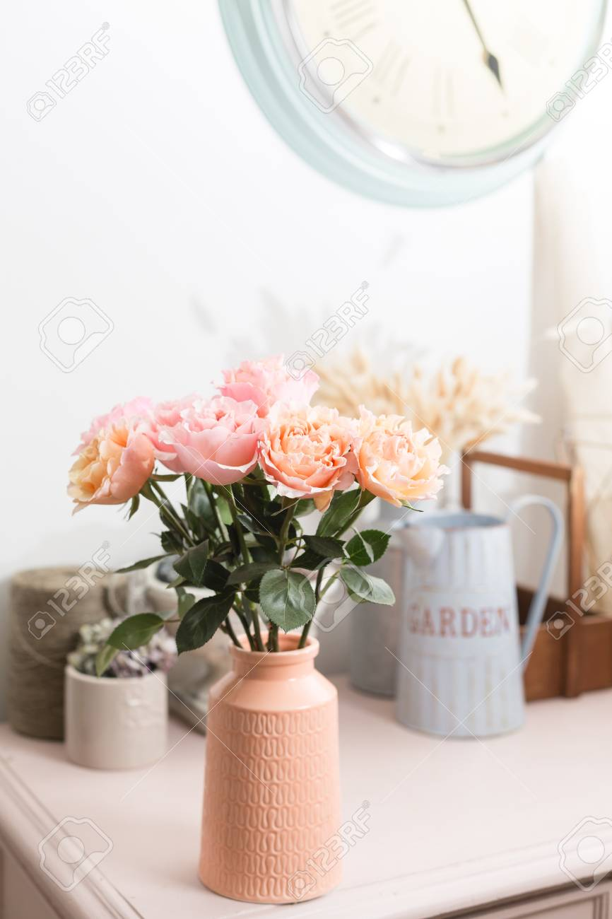 Bouquet Flowers Of Pink Roses In Glass Vase Shabby Chic Home