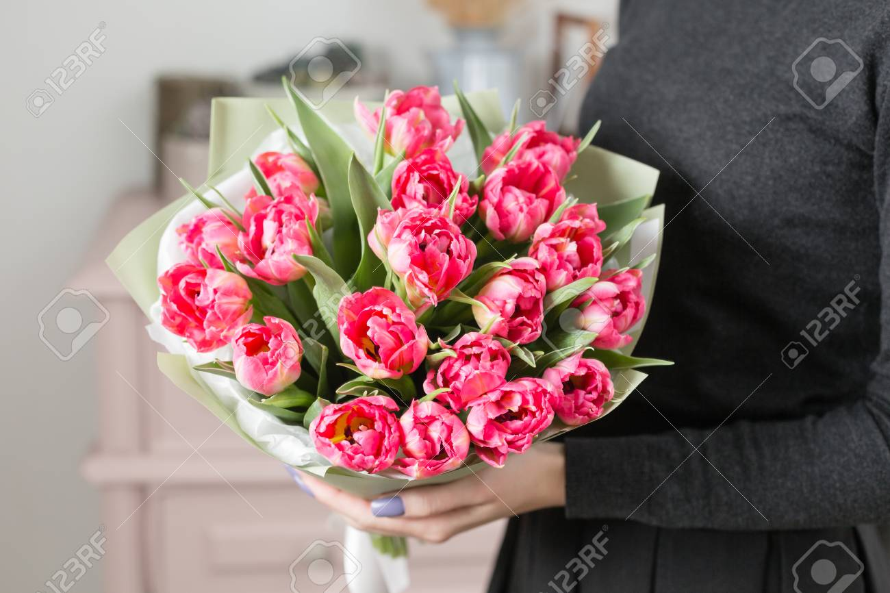 Beautiful Luxury Bouquet Of Pink Tulips Flowers In Woman Hand ...