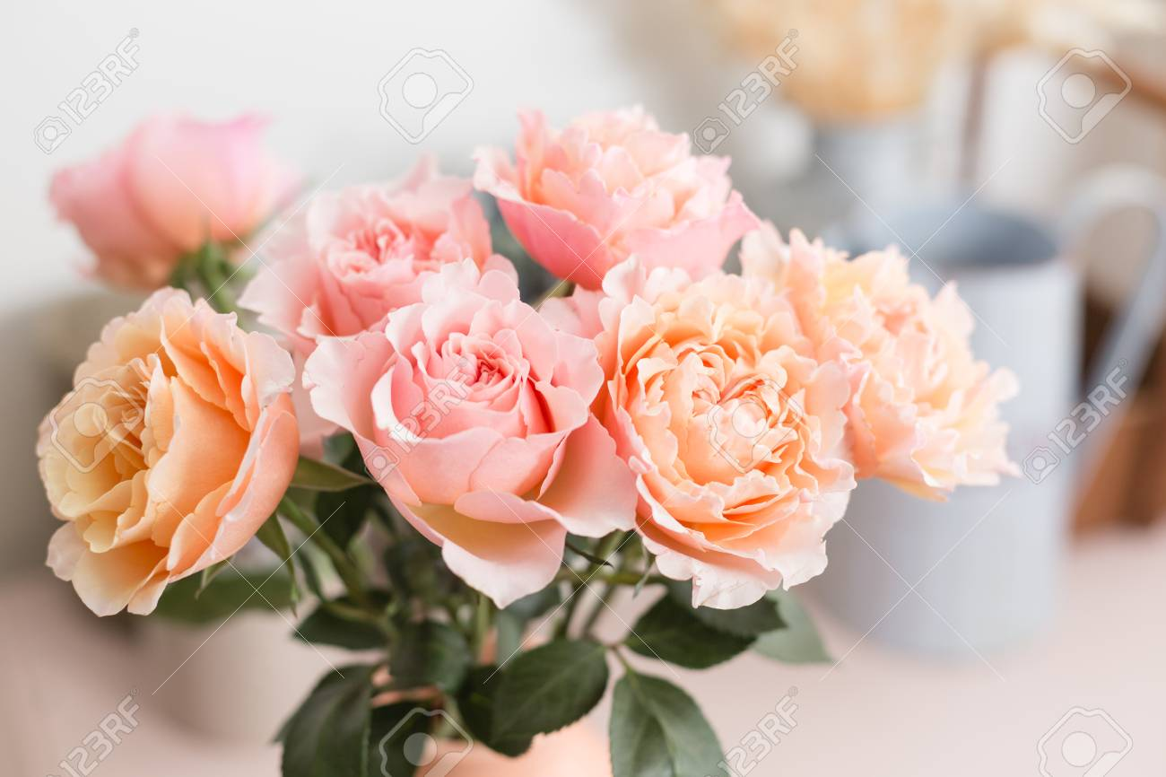 Bouquet flowers of pink roses in glass vase shabby chic home bouquet flowers of pink roses in glass vase shabby chic home decor florist at izmirmasajfo