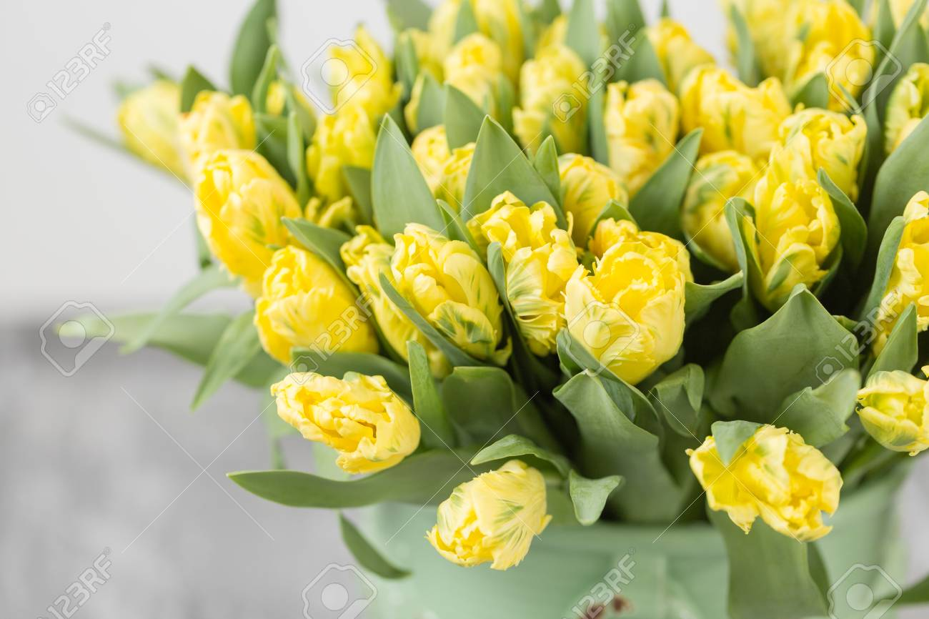 Tulips Of Yellow Color In Green Vase. Big Buds Of Multicoloured ...
