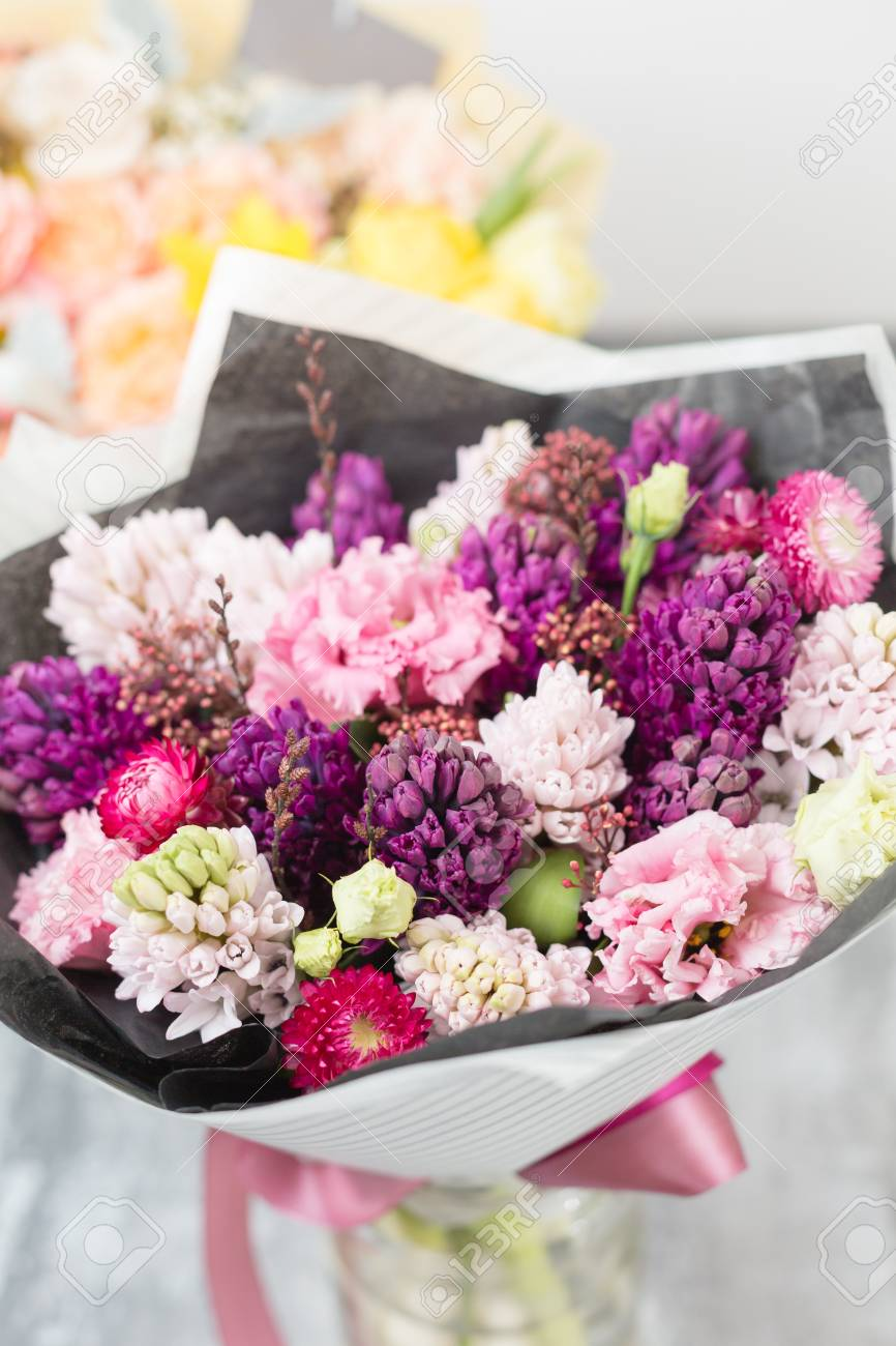 Bouquet Of Beautiful Violet And Pink Hyacinths. Spring Flowers ...