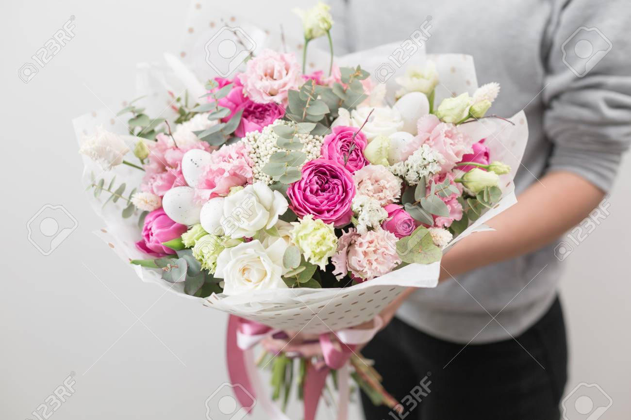 Spring mood beautiful luxury bouquet of mixed flowers in woman spring mood beautiful luxury bouquet of mixed flowers in woman hand the work of izmirmasajfo