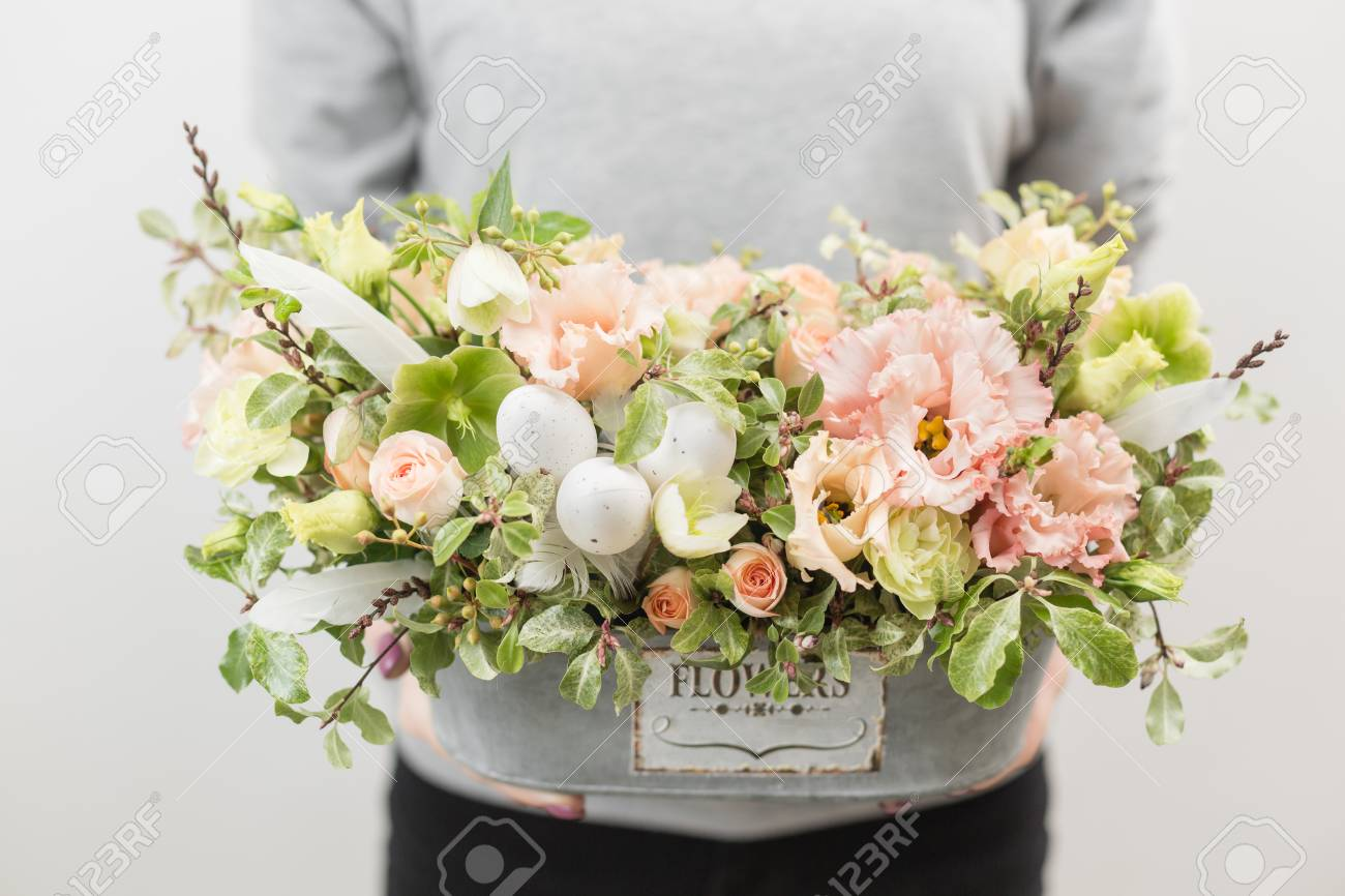 Flower arrangement beautiful luxury bouquet of mixed flowers flower arrangement beautiful luxury bouquet of mixed flowers in woman hand the work of izmirmasajfo