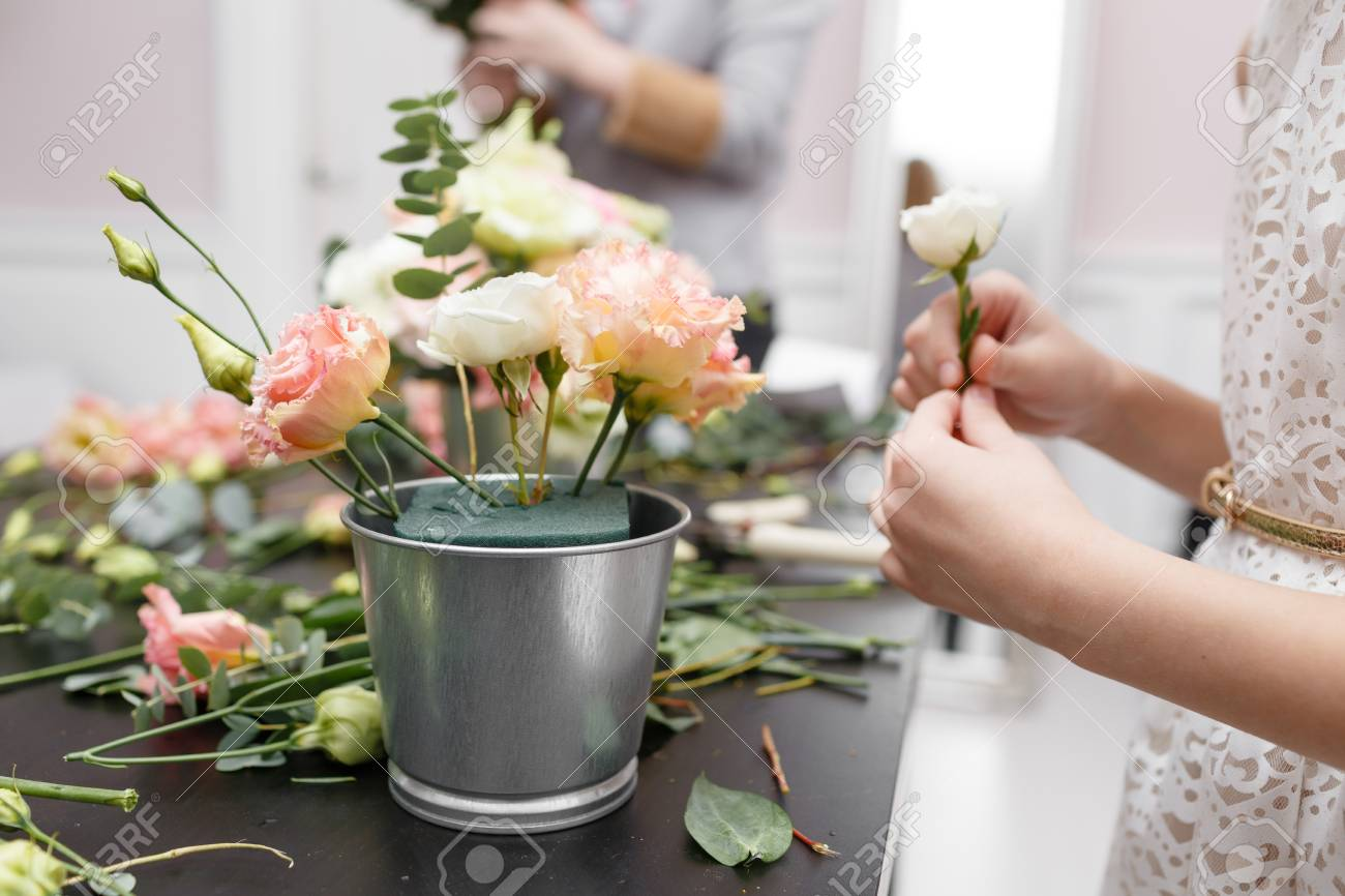 Master class on making bouquets for kids. Spring bouquet in metal ornamental flowerpot. Learning & Master Class On Making Bouquets For Kids. Spring Bouquet In Metal ...