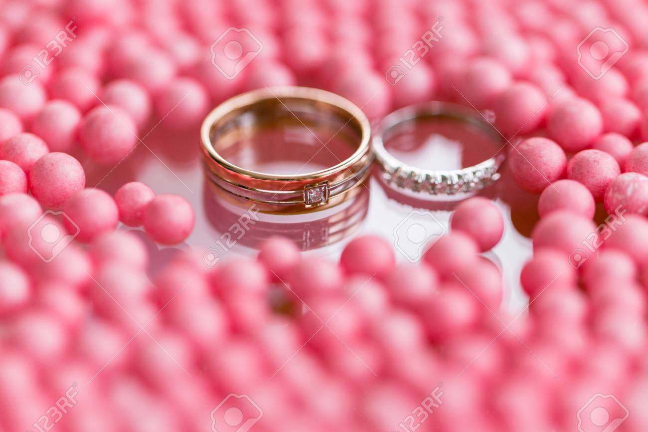 Yellow And White Gold Wedding Ring With Diamond. Pink Balls And ...