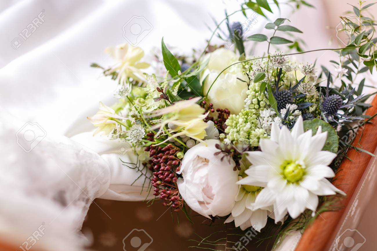 Wedding bouquet different flowers modern bridal bunch with poppy stock photo wedding bouquet different flowers modern bridal bunch with poppy flower and thistle mightylinksfo
