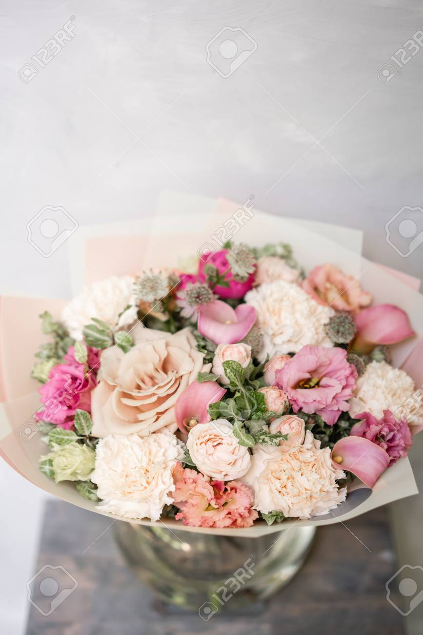 Work florist beautiful spring bouquet arrangement with mix stock beautiful spring bouquet arrangement with mix flowers the concept of a flower shop a small family business pastel color mightylinksfo