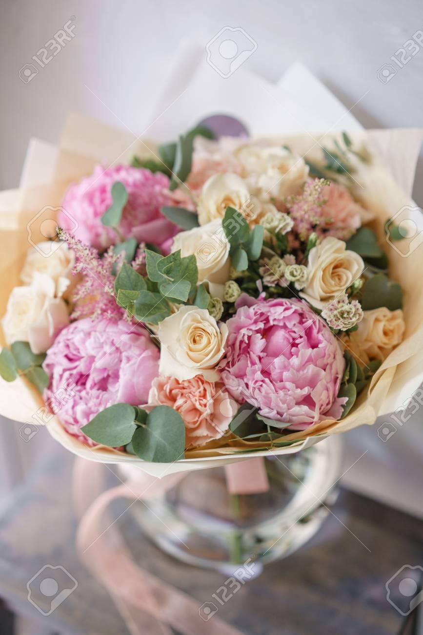 Beautiful summer bouquet flower arrangement with peonies color beautiful summer bouquet flower arrangement with peonies color light pink the concept of mightylinksfo