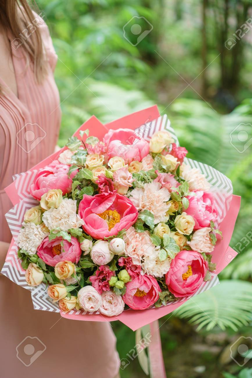 Beautiful Summer Bouquet. Arrangement With Mix Flowers. Young ...
