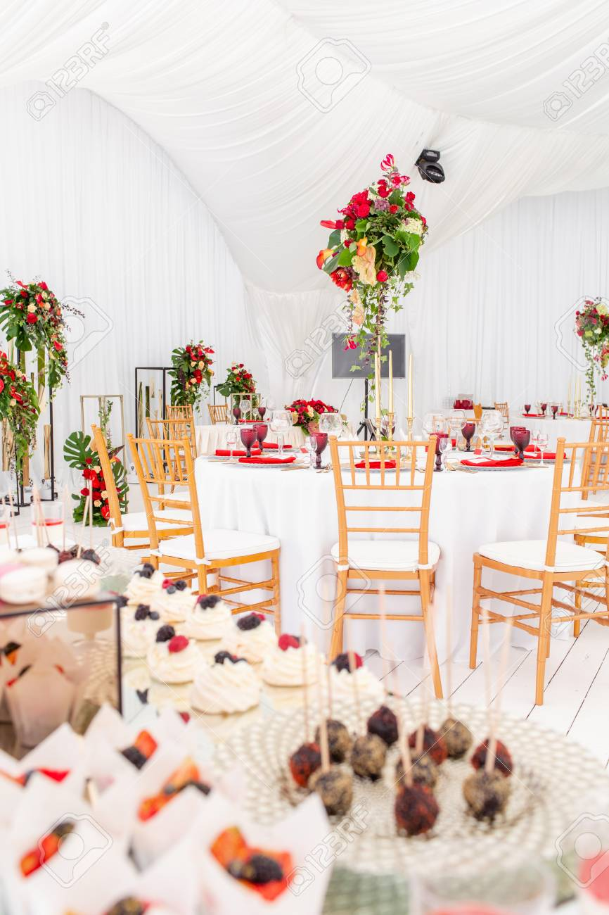 Beautiful Banquet Hall Under A Tent For A Wedding Reception Stock