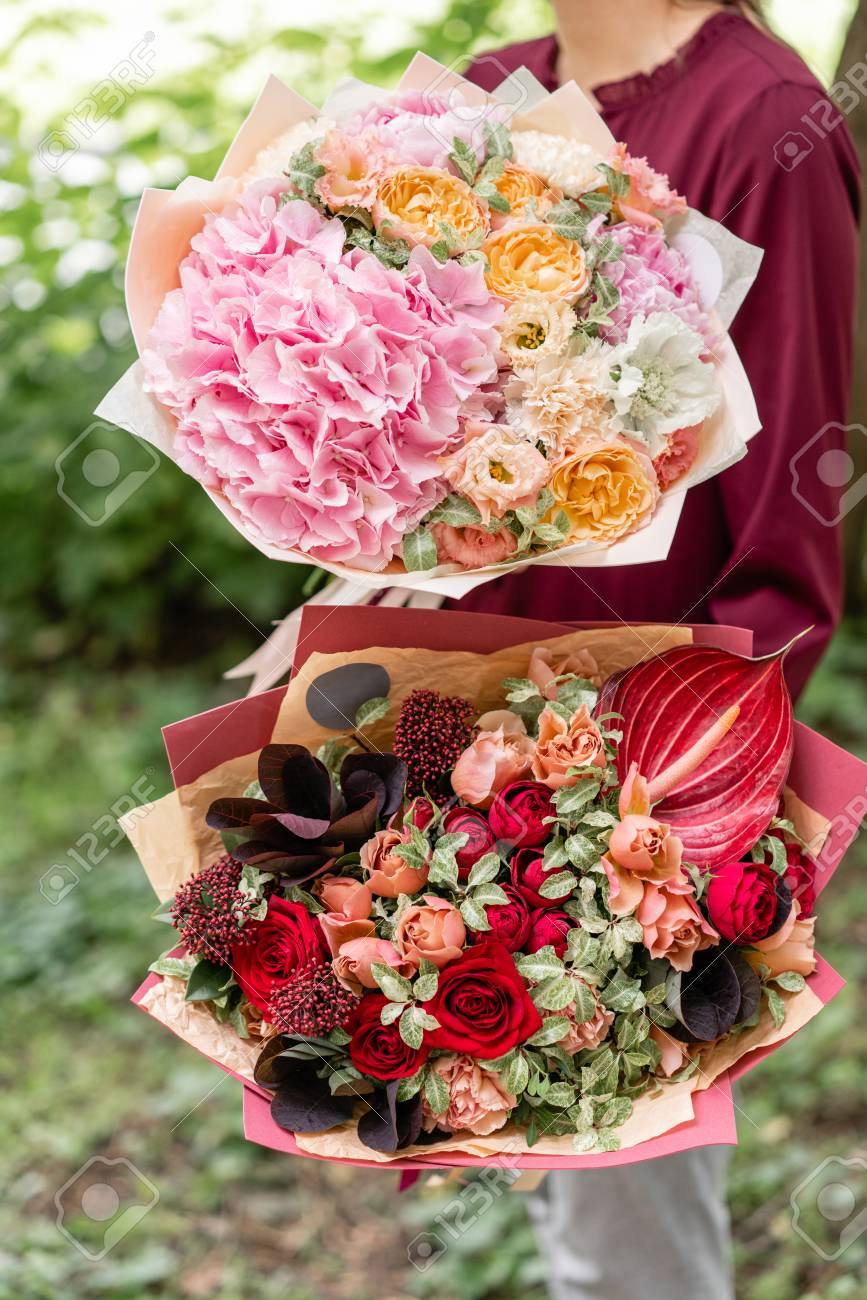 Two Beautiful Summer Bouquet. Arrangement With Mix Flowers. Young ...