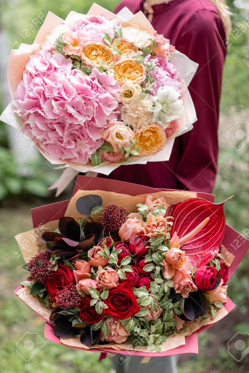 Two Beautiful Summer Bouquet Arrangement With Mix Flowers Young Stock Photo Picture And Royalty Free Image Image 105926266