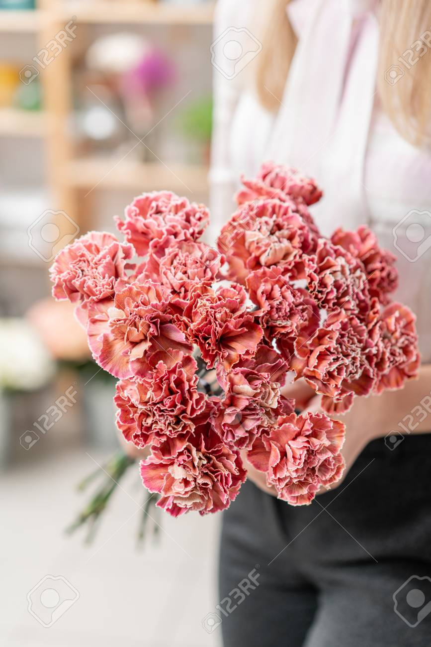 Bouquet Of Carnation Flowers Coral And Red Color Spring Bunch In