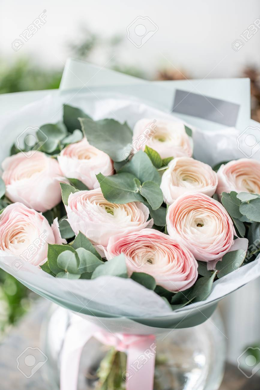 Persian Buttercup In Glass Vases Bunch Pale Pink Ranunculus Stock Photo Picture And Royalty Free Image Image 117707808