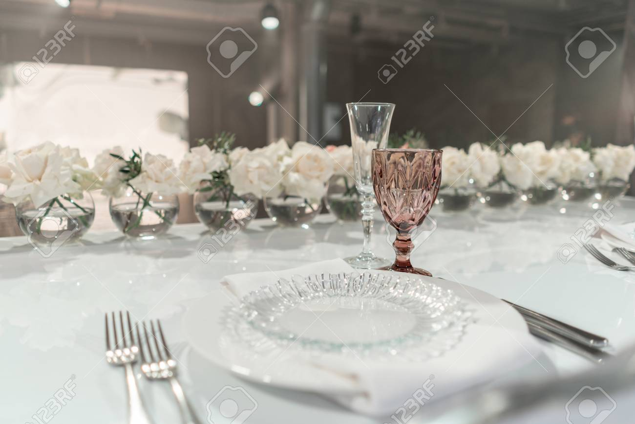 The Table Of The Newlyweds Small Flower Arrangements In Ball Stock Photo Picture And Royalty Free Image Image 121045862