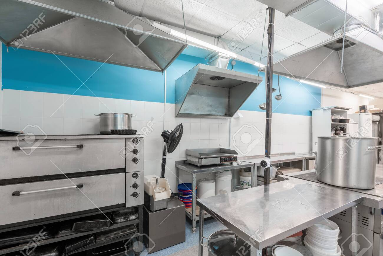 Modern Restaurant Kitchen With Stainless Steel Kitchenware And Stock Photo Picture And Royalty Free Image Image 143215050