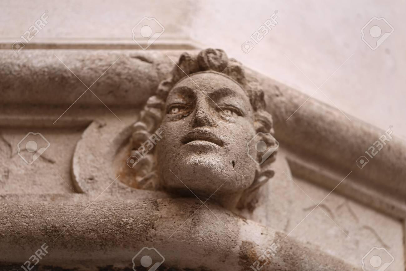 Sibenik Kathedrale / Berühmte Gesichter auf der Seite Protal der Kathedrale von Sibenik Standard-Bild - 86863154