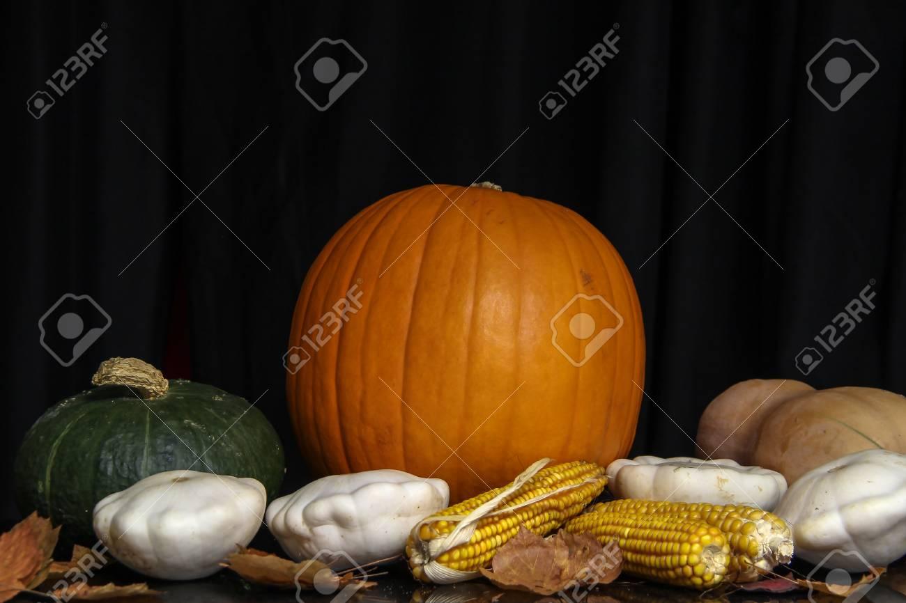 Herbst Stillleben / Verschiedene dekorative Kürbisse auf dem Tisch Standard-Bild - 86671734