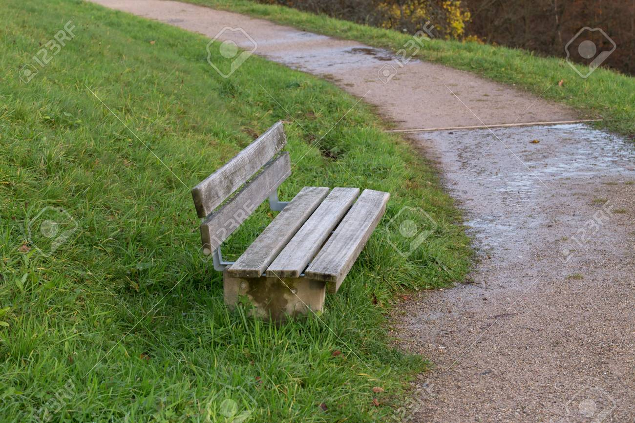 Bench in the park / Wooden bench for rest Standard-Bild - 92928886