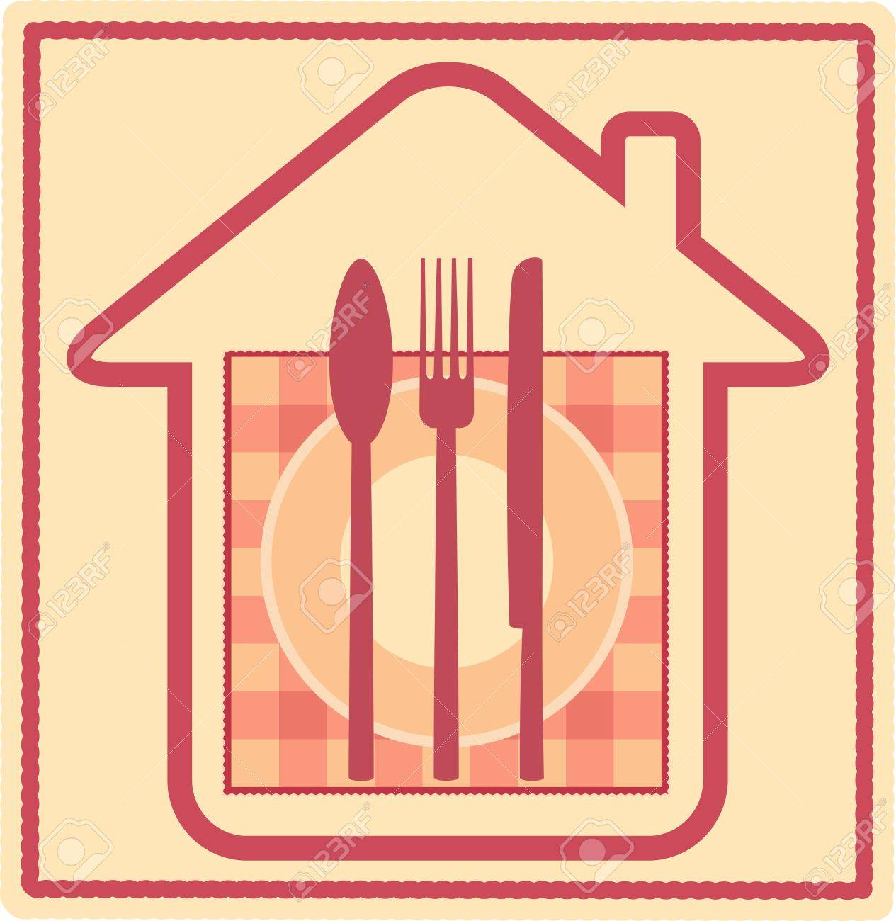 Restaurant sign with house silhouette and plate, fork, knife, spoon, napkin Stock Vector - 13879903