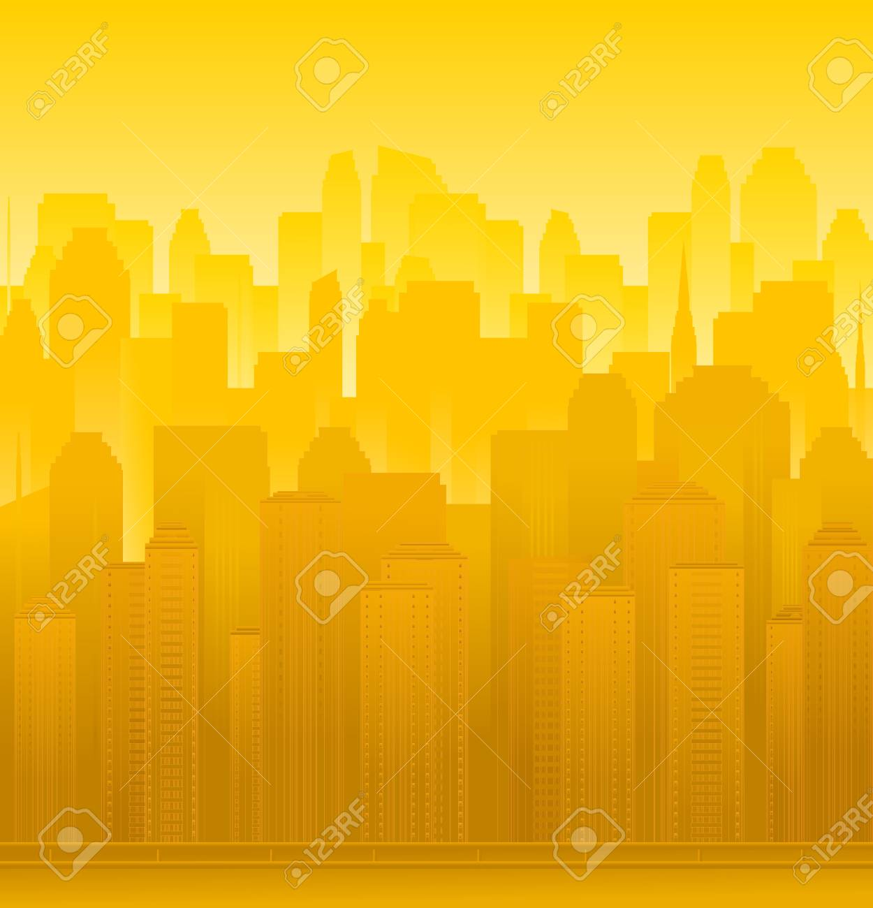 background  with urban modern landscape, skyscrapers and sunset Stock Vector - 13921935
