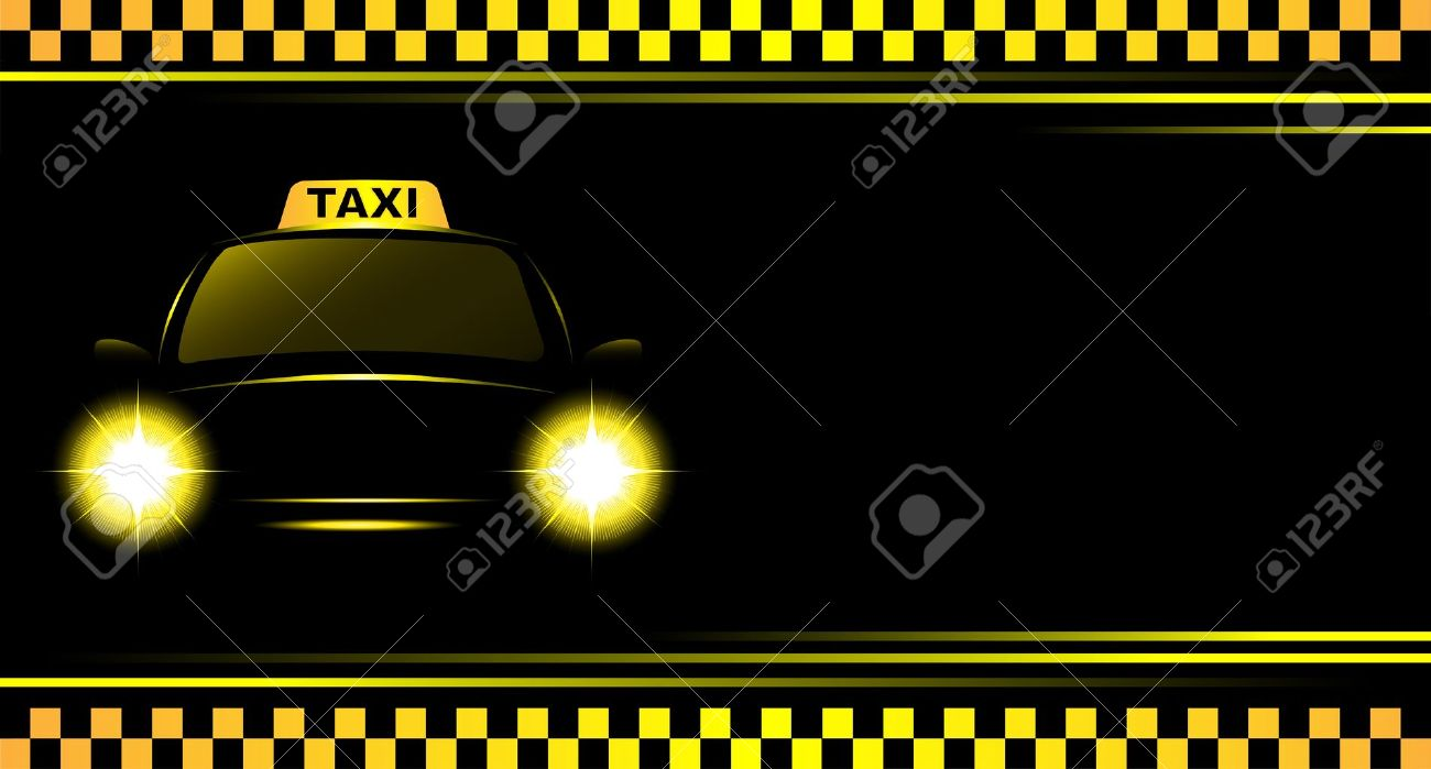 Business Card And Black Background With Taxi Sign And Cab Royalty ...
