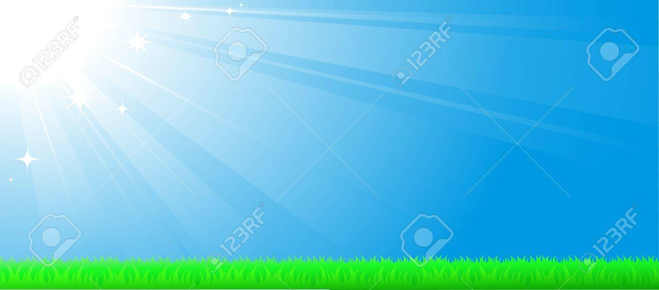 blue sky background with sun beam, green grass and space for text Stock Vector - 14088380