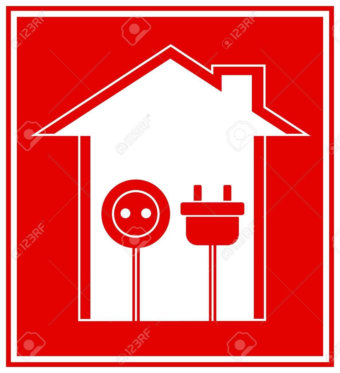 Banque Du0027images   Simple, Rouge Symbole Technique De Lu0027électricité Avec La  Maison