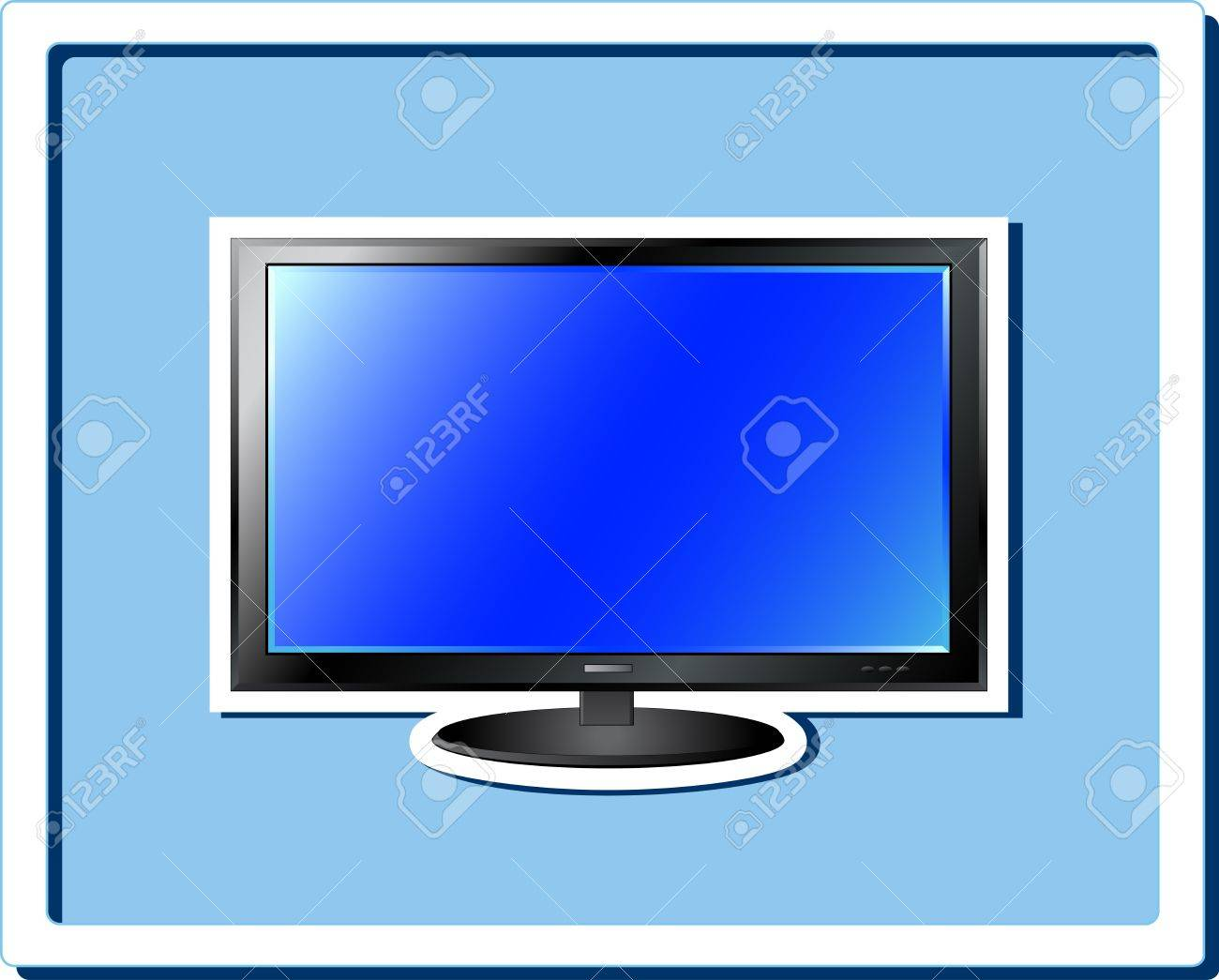 image of isolated blue TV screen sticker in frame
